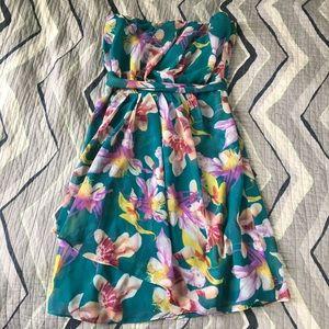 Express green floral strapless dress Size 4